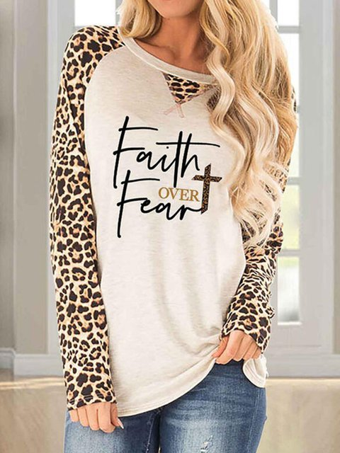 Leopard  Round Neck Long Sleeves Casual T-shirts