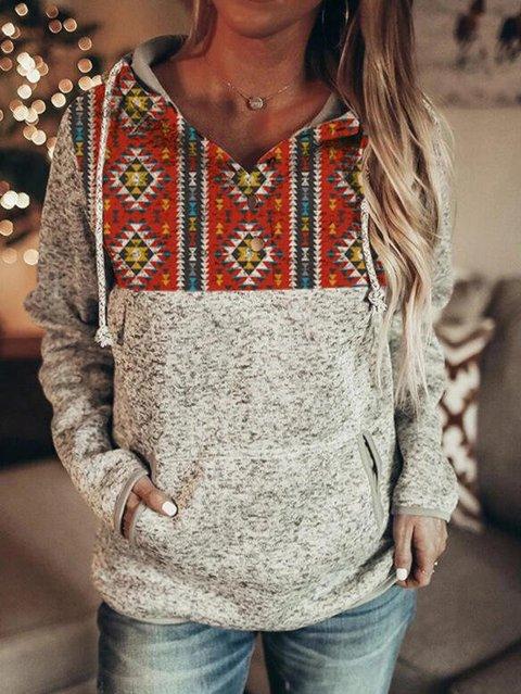 Long Sleeve Geometric Floral-Print Sweatshirt