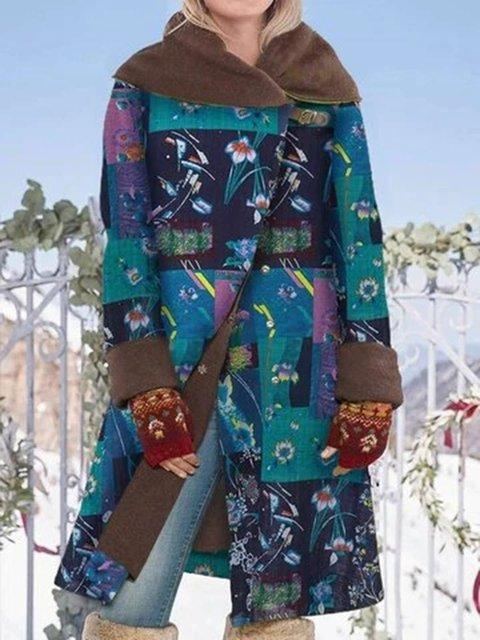 Ethnic Print Lapel Long Sleeve Vintage Coat For Women