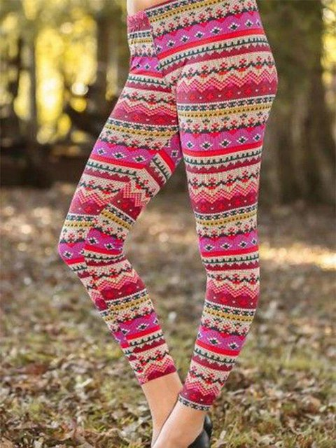 Printed Casual Stretch Pants