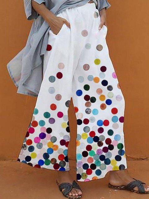Polka Dot Casual Print Loose Pants