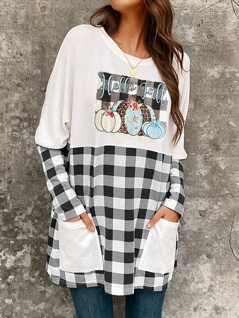 Plaid Patched Print Pockets Long Sleeve Casual Blouse