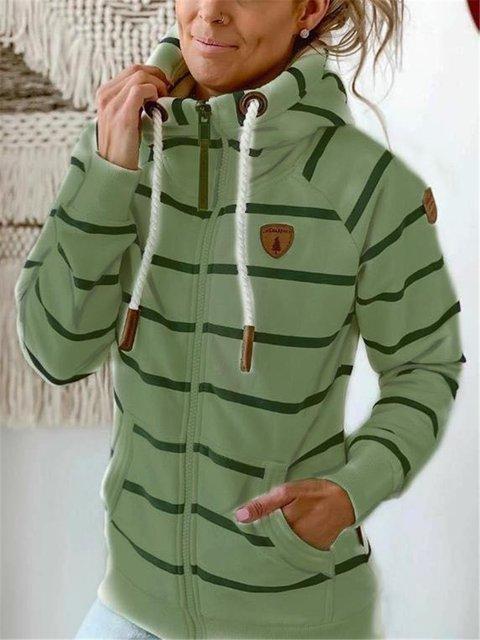 Casual Stripes Cotton-Blend Shift Outerwear