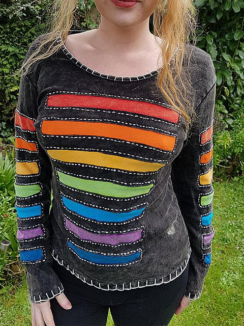 Color-Block Vintage Sheath Shirts & Tops