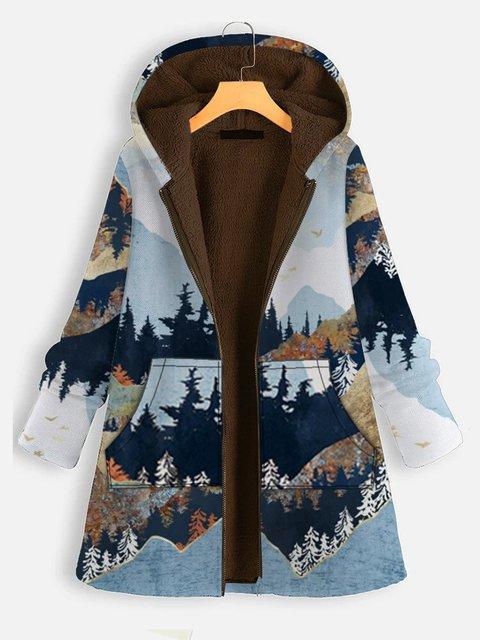 Casual Forest Print Long Sleeve Fleece Outerwear