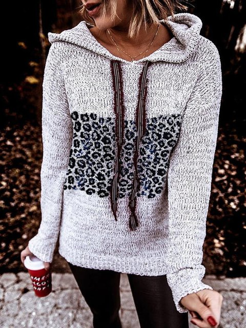 Leopard Hooded Casual Sweaters