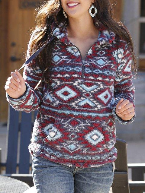 Vintage Print 1/4 Zip Collar Fleece Pullover Sweatshirt