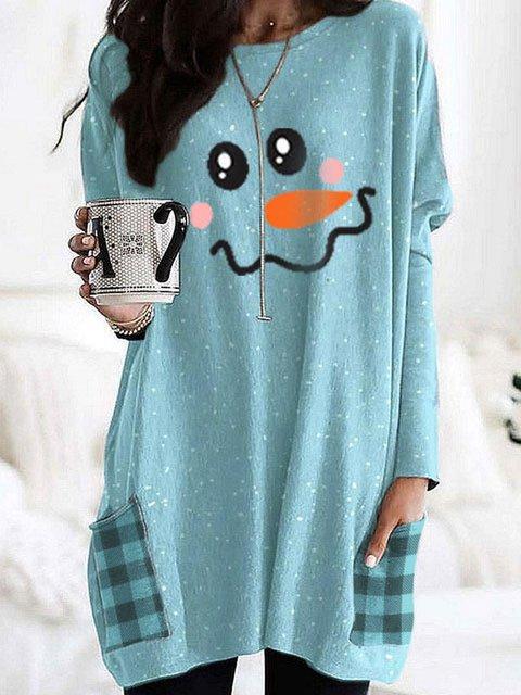 Christmas Smiley Print Long Sleeve Casual Shirts & Tops