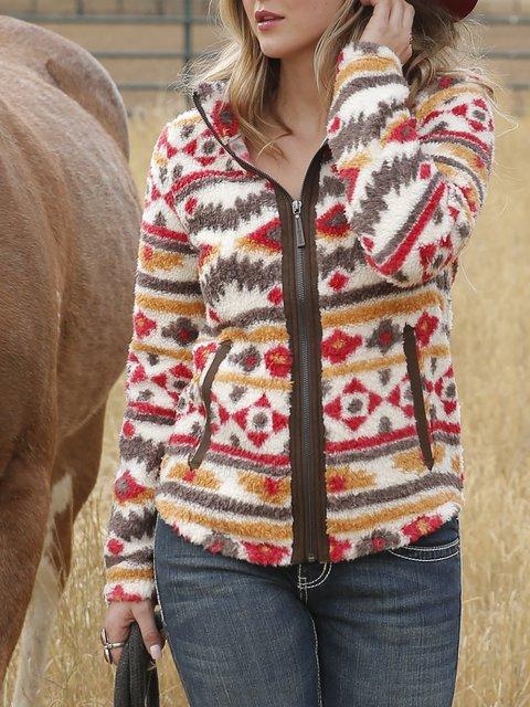 Full Zip Long Sleeve Vintage Print Warm Fleece Jacket