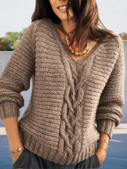 Shift Jacquard Long Sleeve Casual Sweater