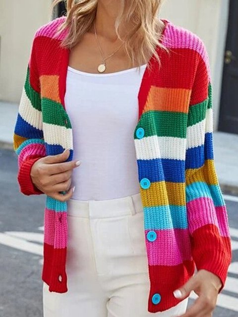 Colorful Striped Patchwork Knitting Button Cardigan