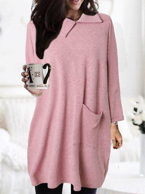 Solid Color Casual  Long Tops Shawl Collar Woolen Mini Dress