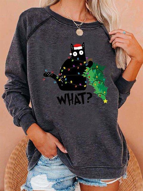 Women's Christmas Funny Cat Print Casual Sweatshirt