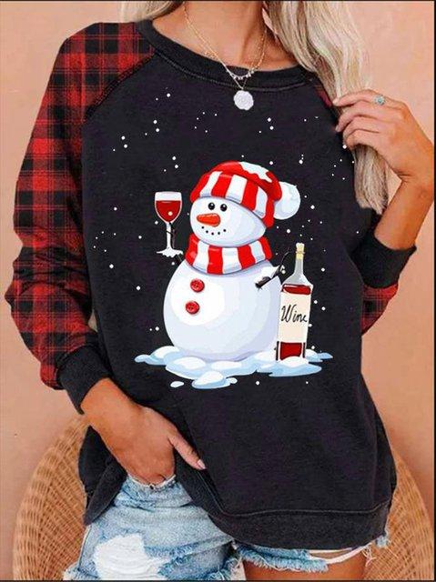 Ladies Christmas Series Fun Snowman Print Sweatshirt
