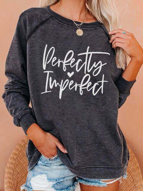Casual Cotton-Blend Crew Neck Printed Sweatshirt