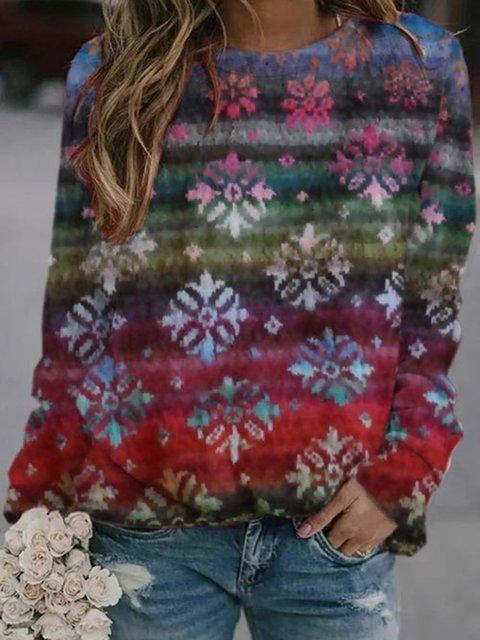 Round Neckline Floral Casual Regular Shift Sweatshirts