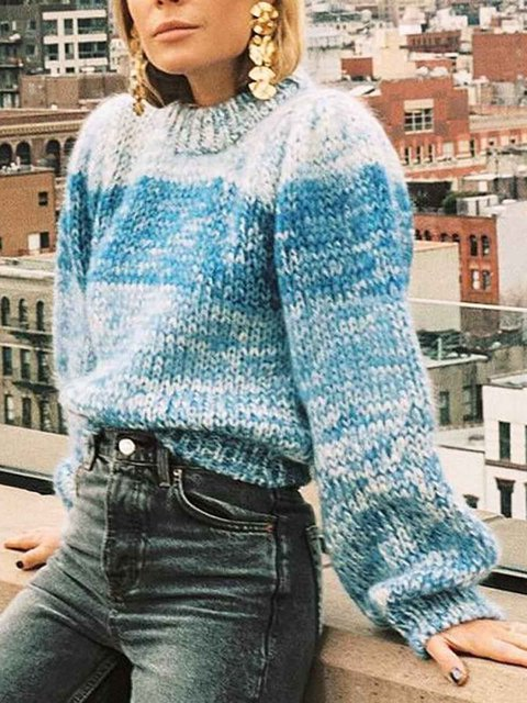 Casual Knitted Cotton Crew Neck Sweater