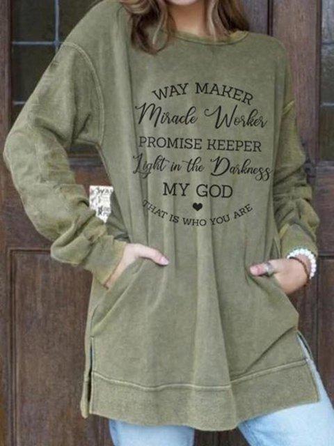 Printed Long Sleeve Cotton-Blend Crew Neck Sweatshirt