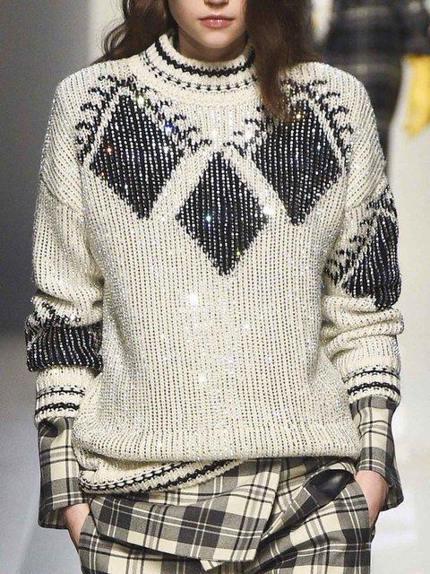 Long Sleeve Crew Neck Cotton Geometric Sweater
