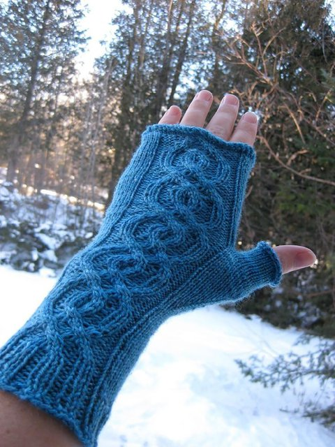 Blue Plain Knitted Gloves & Mittens
