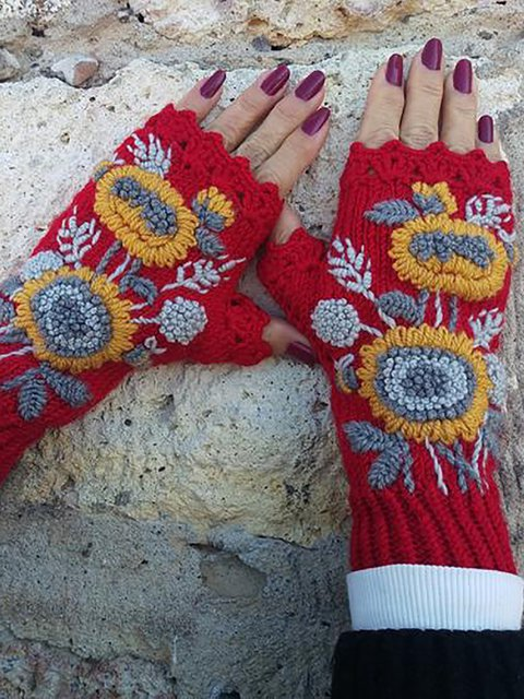Knit Fingerless Gloves Sunflower Embroidered Mittens