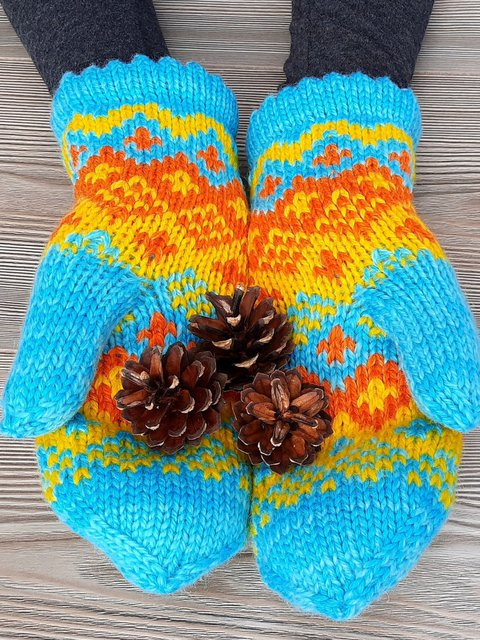 Fingerless Mittens Patterned Gloves Colorful Mitts
