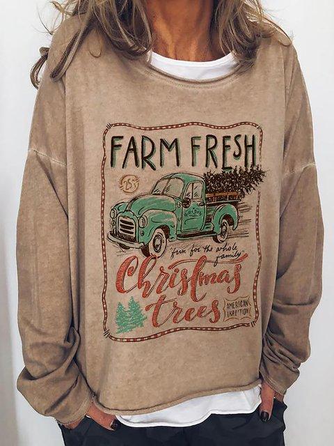 Farm Fresh Christmas Print Loose Sweatshirt