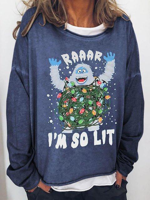 Christmas Snowman I'M SO LIT Crew Neck Sweatshirt