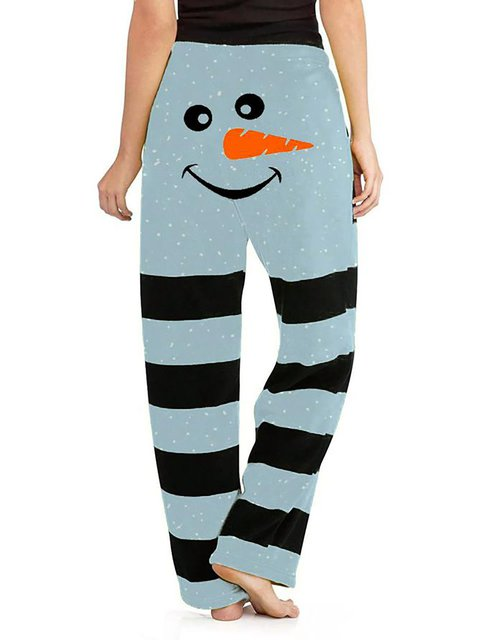 Christmas Snowman Loose Casual Pants