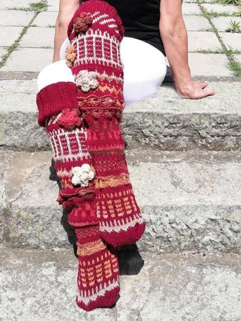 Flower Knee Socks Leg Warmers Thigh High Socks
