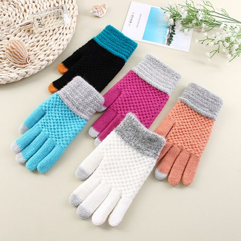 Pure color knitted mobile phone touch screen knitted gloves