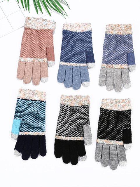 Warm gloves plus velvet thick jacquard gloves
