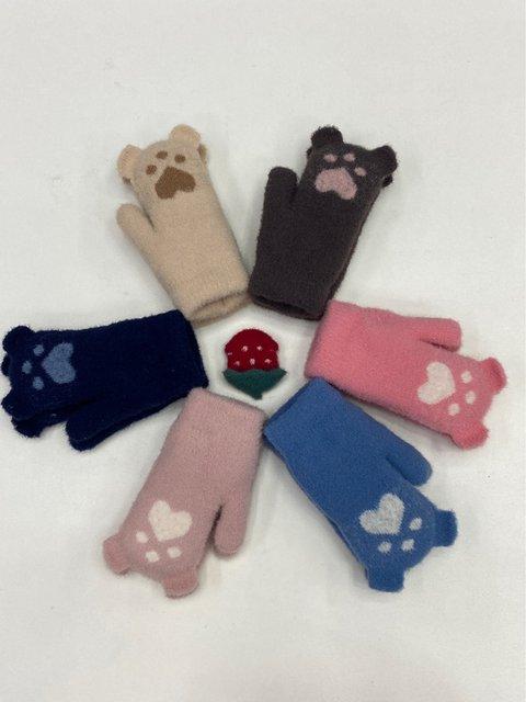 2020 new double layer warm skin-friendly super weak cute children gloves