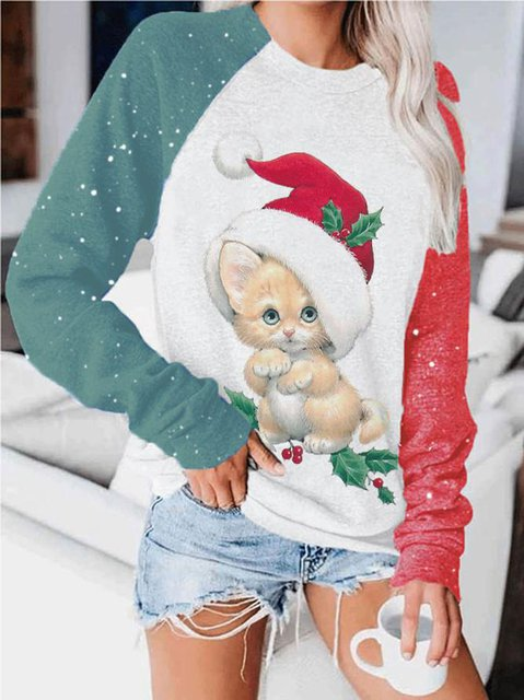 Women's Christmas Kitty Print Sweatshirt