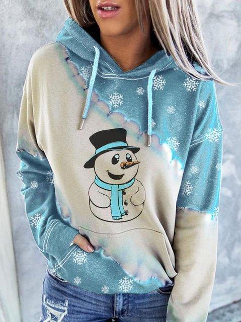 Women's Christmas Snowman Printed Color Block Long Sleeve Hoodie