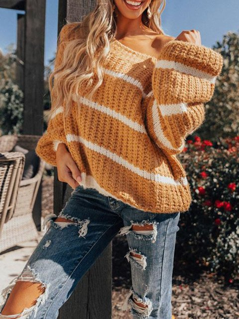 Plain Casual Crew Neck Long Sleeve Sweater