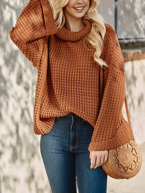 Knitted Casual Cotton Turtleneck Sweater