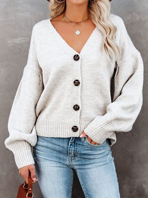BALLOON SLEEVE BUTTON FRONT CARDIGAN