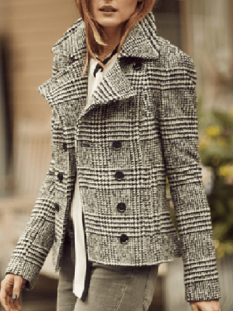 Shawl Collar Casual Tweed Plaid Outerwear