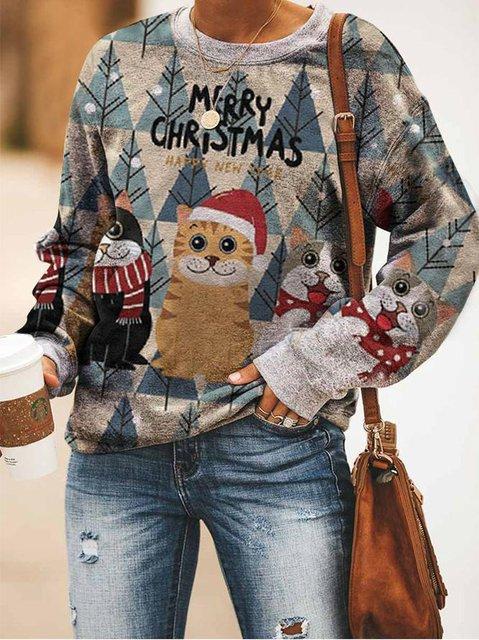 Ladies Christmas Cat Pattern Casual Sweatshirt