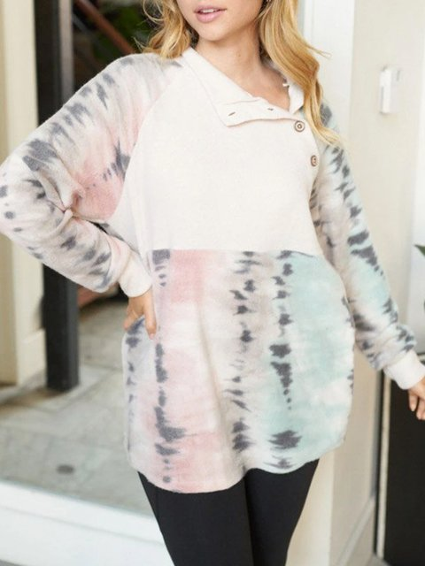 Stitching contrast color tie-dye printing casual loose and comfortable long-sleeved sweater