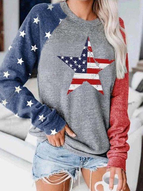 Star Print Round Neck Sweatshirt