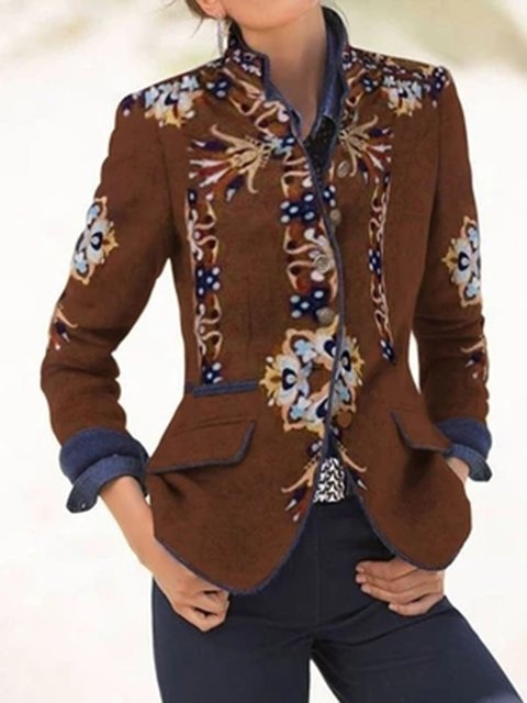 Long Sleeve Floral-Print Casual Outerwear