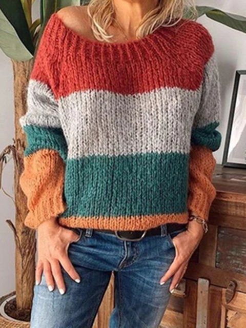 Multicolor Long Sleeve Casual Sweater