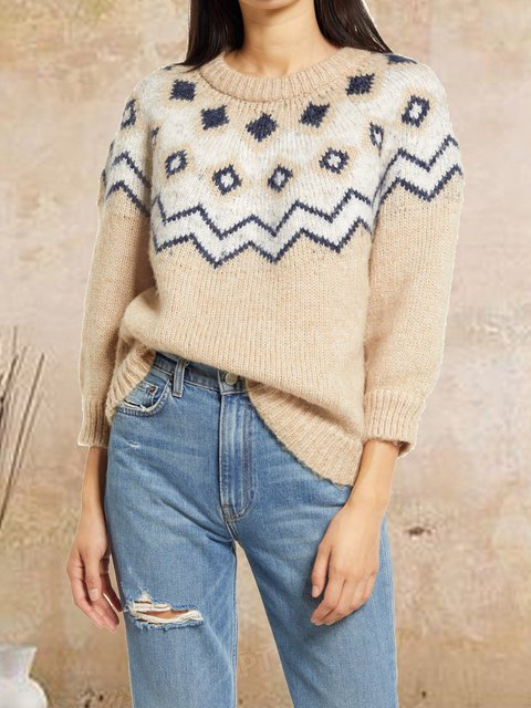 Round neck retro ethnic wool casual comfortable woolen blouse