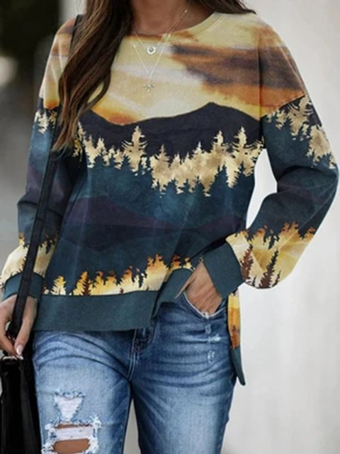 Floral-Print Crew Neck Long Sleeve Shift Blouse