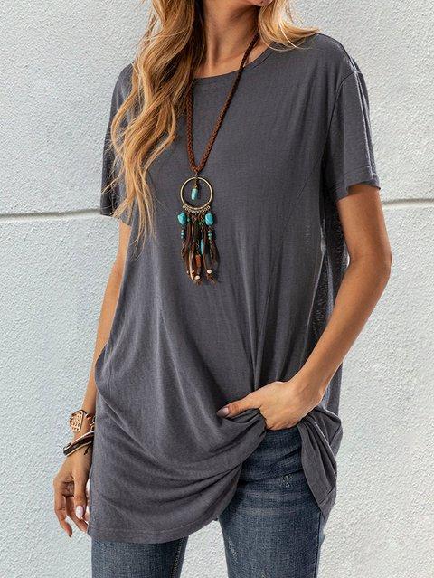 Gray Crew Neck Short Sleeve Shirts & Tops