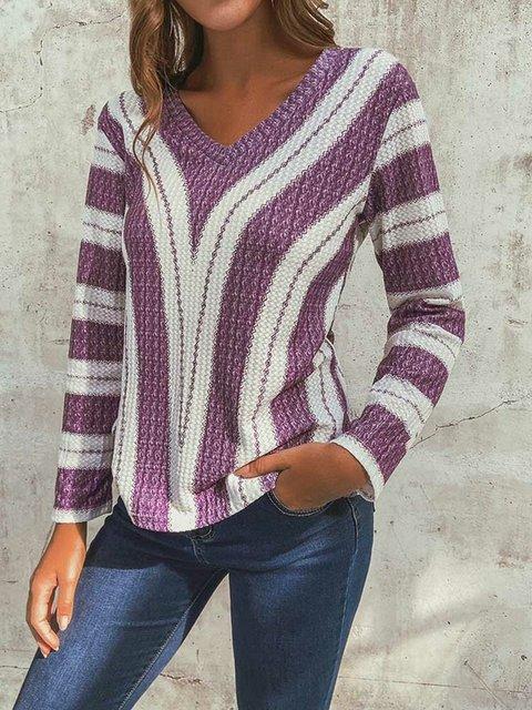 Irregular Stripe V-neck Long Sleeve Vintage Knit Blouse