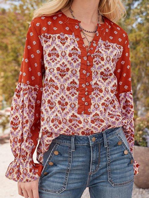 Long Sleeve Floral Printed Shirts & Tops