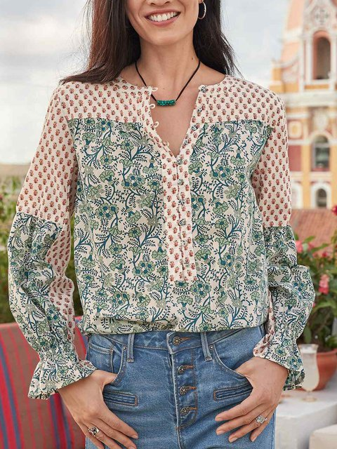 Long Sleeve Geometric Printed Shirts & Tops